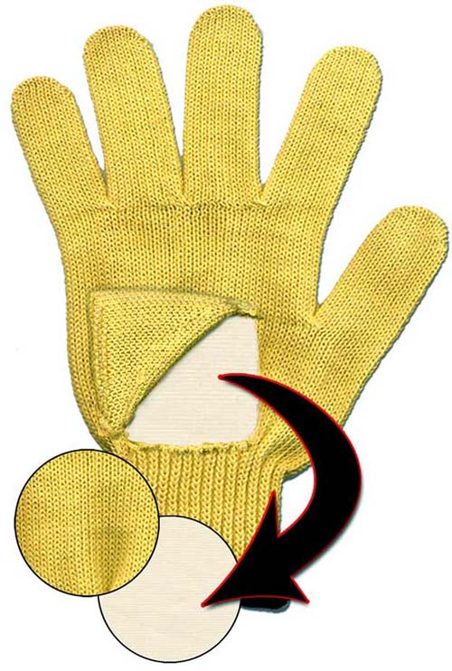 String knit gloves made with TurtleSkin